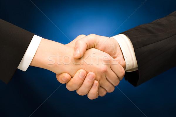 Działalności handshake wiele niebieski podpisania Zdjęcia stock © pressmaster