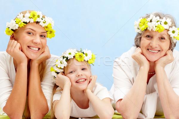ストックフォト: 人 · 肖像 · 祖母 · 母親 · 孫 · 春