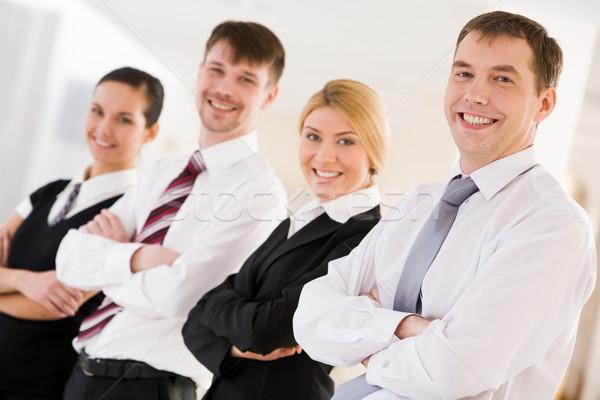 Stock fotó: Vezető · csapat · portré · boldog · néz · kamera