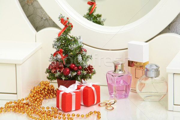 Stockfoto: Christmas · atmosfeer · dame · toiletartikelen · tabel · vak