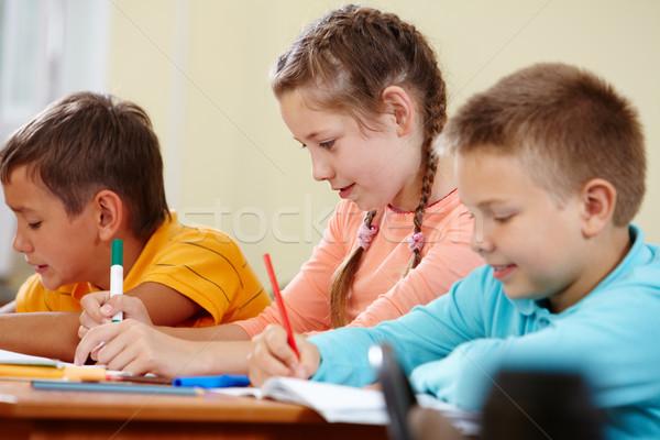 Сток-фото: рисунок · Одноклассники · портрет · девушки · школы · образование