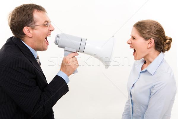 Conflitto ritratto capo megafono arrabbiato Foto d'archivio © pressmaster