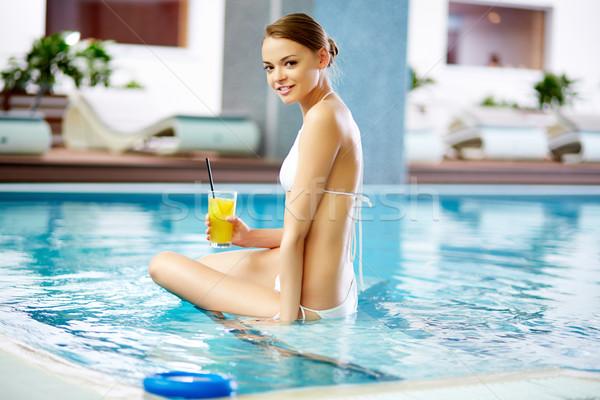 Foto d'archivio: Ragazza · piscina · tempo · piscina · donna · salute