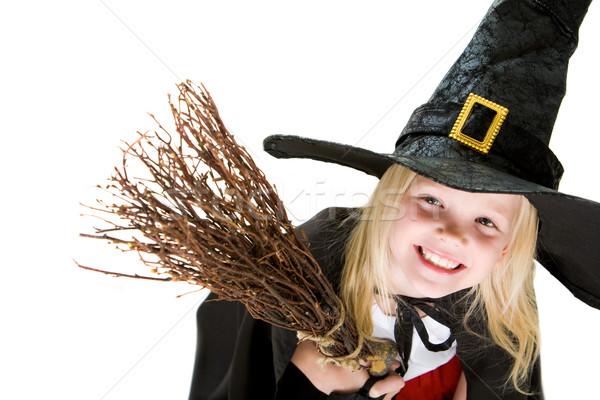 Foto stock: Menina · bruxa · traje · retrato · halloween · vassoura