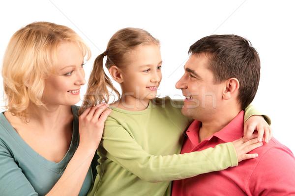 Foto stock: Retrato · de · família · feliz · pais · filha · sorridente · família
