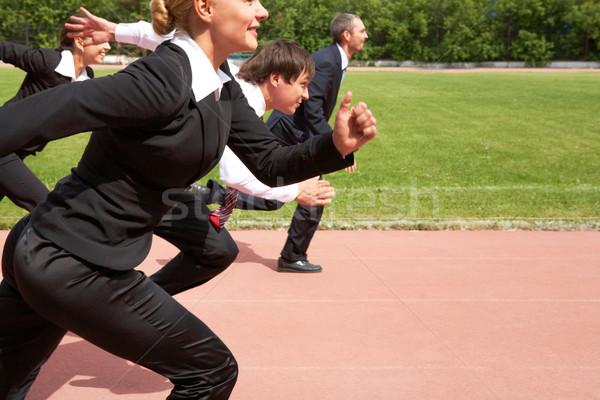 Stock fotó: Verseny · kép · aktív · alkalmazottak · fut · lefelé