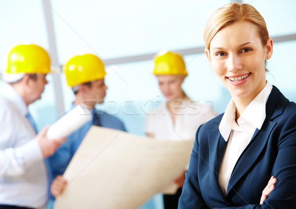 Foto stock: Belo · arquiteto · retrato · brasão · trabalhadores · negócio