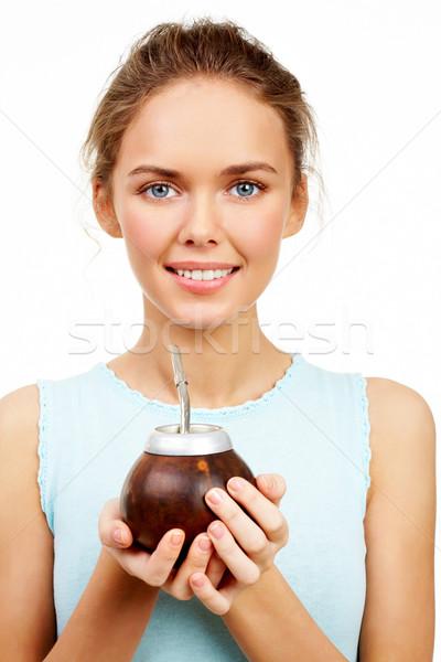 Girl with calabash Stock photo © pressmaster