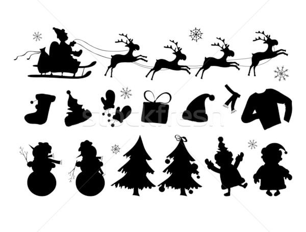 Noel Siluetleri Hatları Ağaç Boyama Elbise Vektör
