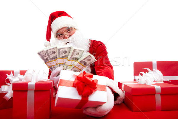 Verkopen geschenken foto gelukkig kerstman christmas Stockfoto © pressmaster