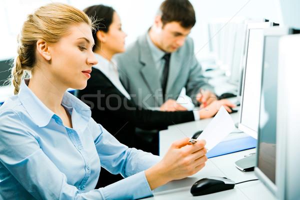 Seminer öğrenci oturma büro Stok fotoğraf © pressmaster