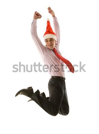 Сток-фото: Рождества · радости · прыжки · бизнесмен · Cap