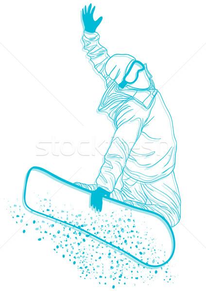 Snowbordos extrém trükk férfi sport hó Stock fotó © pressmaster