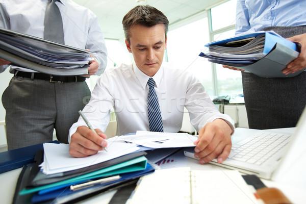 Travaux comptable financière rapports énorme Photo stock © pressmaster