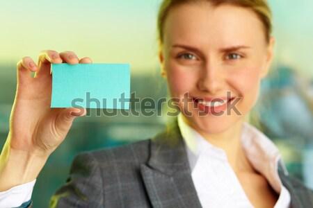Kadın boş kart görüntü işkadını kart Stok fotoğraf © pressmaster