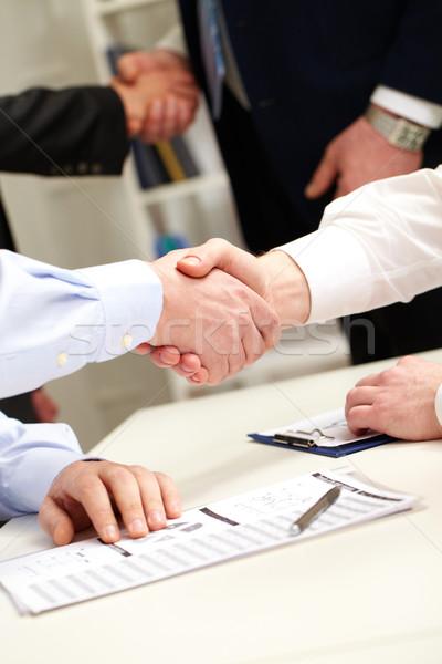 Stok fotoğraf: Anlaşma · iş · adamları · el · sıkışmak · başarılı · iş