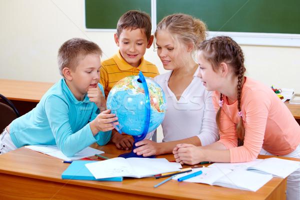 Géographie leçon portrait cute enseignants Photo stock © pressmaster