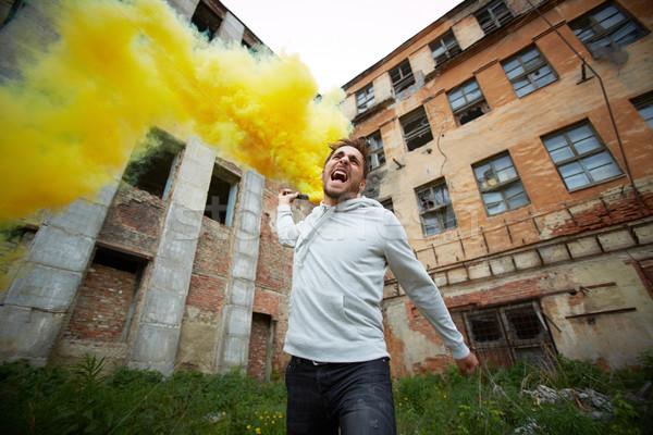 Protesto portre züppe sigara içme tek başına Stok fotoğraf © pressmaster