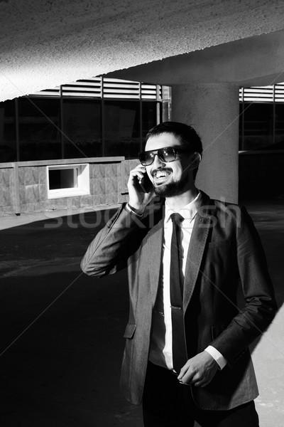 Foto stock: Empresário · chamada · imagem · sorridente · telefone