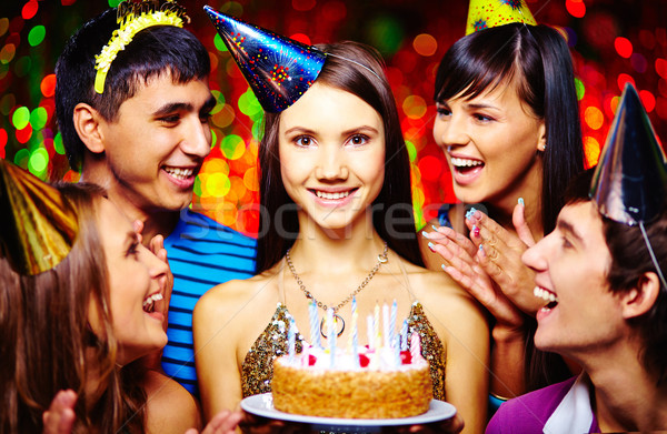 Girl with birthday cake Stock photo © pressmaster