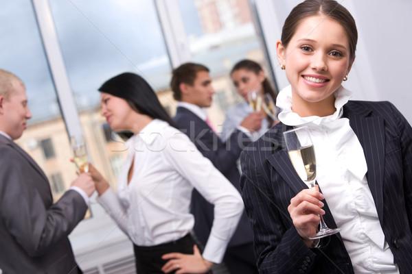 Stock fotó: ünneplés · portré · csinos · lány · pezsgő · furulya