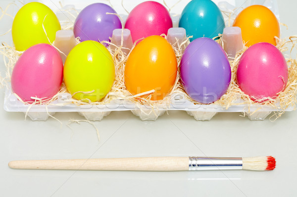 Stok fotoğraf: Paskalya · yumurtası · görüntü · boyalı · boya · fırçası · Paskalya · yumurta