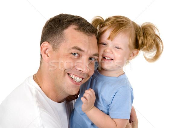 Gyereknevelés portré apa átkarol lánygyermek fehér Stock fotó © pressmaster