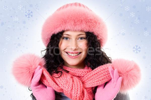 Zdjęcia stock: Zimą · piękna · twarz · pretty · woman · różowy