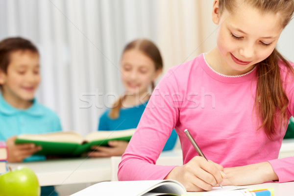 少女 書く 肖像 スマート 女学生 ストックフォト © pressmaster