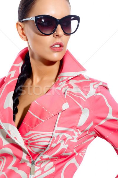 Szykowny kobieta przepiękny modny płaszcz okulary Zdjęcia stock © pressmaster