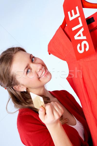 Сток-фото: продажи · портрет · счастливым · женщину · кредитных · карт