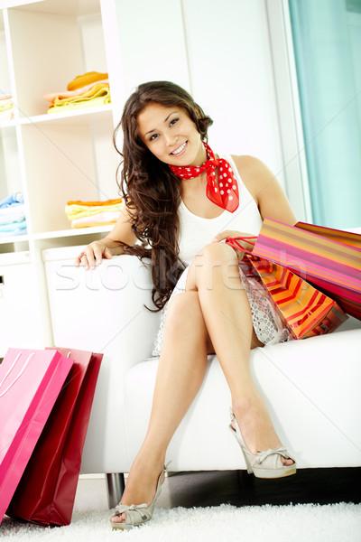 Müşteri kanepe portre mutlu esmer bakıyor Stok fotoğraf © pressmaster