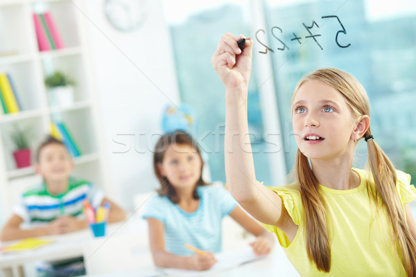 Photo stock: Portrait · fille · transparent · bord · éducation · garçon