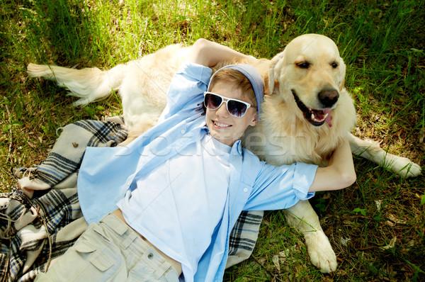 Nyár portré aranyos legény átkarol bolyhos Stock fotó © pressmaster