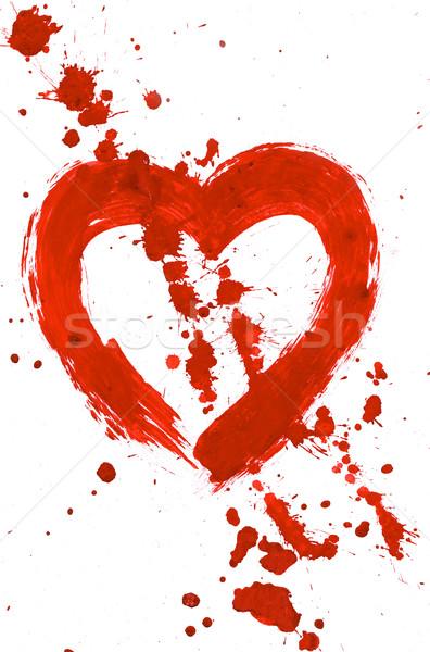 Stockfoto: Liefde · spatten · illustratie · Rood · hart