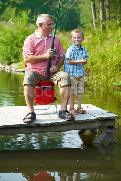 Photo stock: Pêche · photo · grand-père · petit-fils · naturelles · environnement