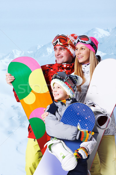 Family of snowboarders Stock photo © pressmaster