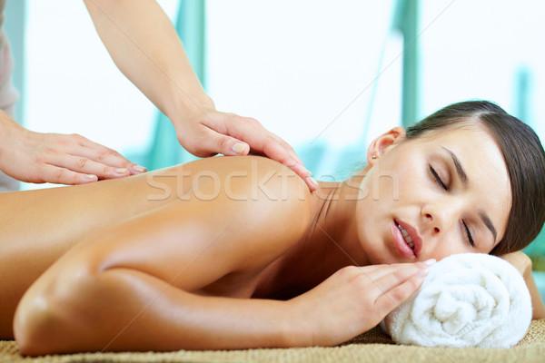 Plaisir jeune femme femme visage corps Retour Photo stock © pressmaster