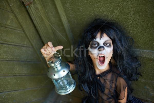 Bambino ritratto halloween ragazza lanterna Foto d'archivio © pressmaster