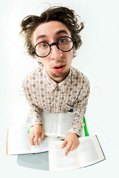 Stockfoto: Student · afbeelding · moe · bril · naar · camera
