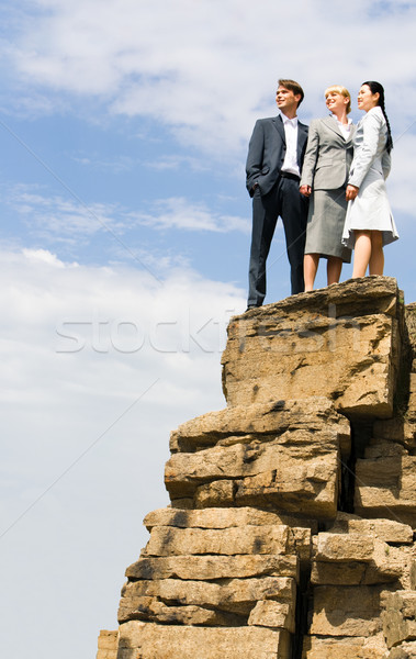 Stock foto: Team · Berg · erfolgreich · Geschäftsleute · stehen · zusammen