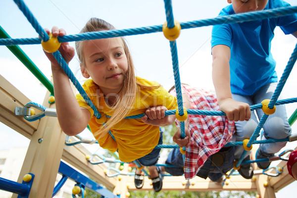 Szabadidős tevékenység boldog kislány barátok játszótér gyermek Stock fotó © pressmaster