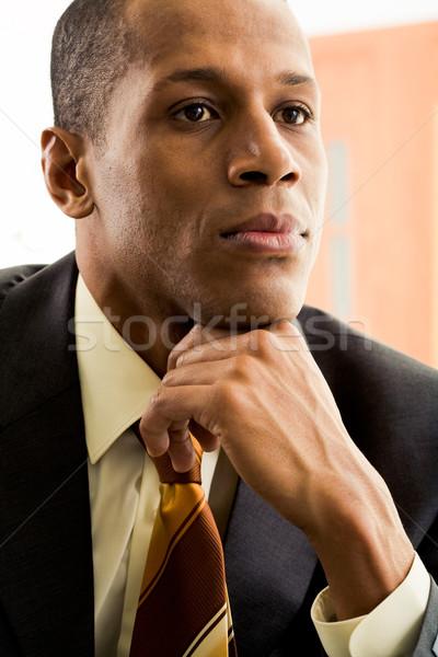 Stock fotó: Gondolatok · portré · figyelmes · üzletember · gondolkodik · üzlet