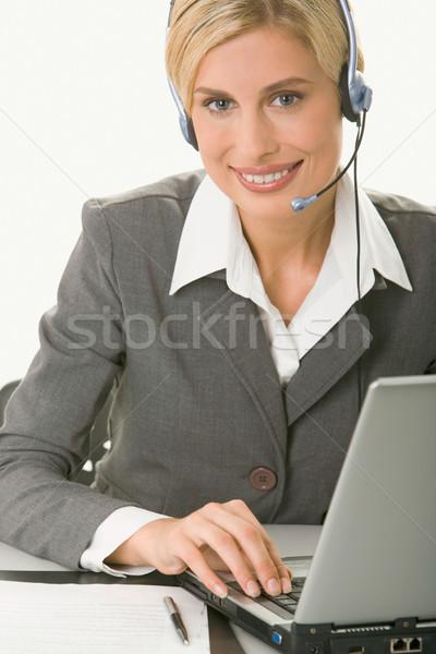 Obsługa klienta operatora portret przyjazny uśmiechnięty posiedzenia Zdjęcia stock © pressmaster