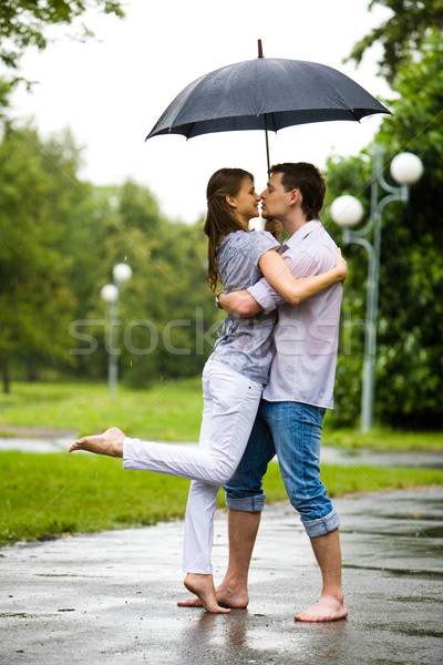 Photo stock: Pluie · photo · romantique · couple · permanent · route