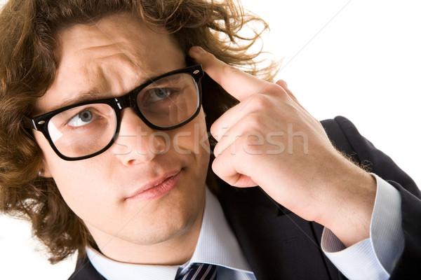 Gond portré problémás üzletember szemüveg megérint Stock fotó © pressmaster