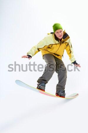 Stok fotoğraf: Portre · yakışıklı · erkek · snowboard