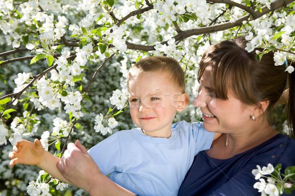 Photo stock: Jardin · portrait · heureux · mère · cute