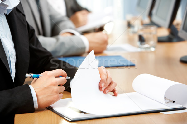 Stock fotó: Papírmunka · kép · emberi · kéz · tart · toll · készít