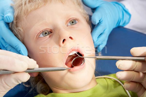 Foto stock: Dental · tratamento · foto · pequeno · menino · boca